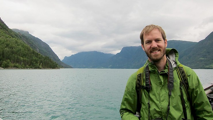 David in Norway, on a ferry to the Urnes Stave Church
