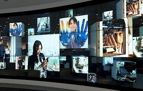 Custom software organizes a landscape of content into a interactive touchscreen installation.