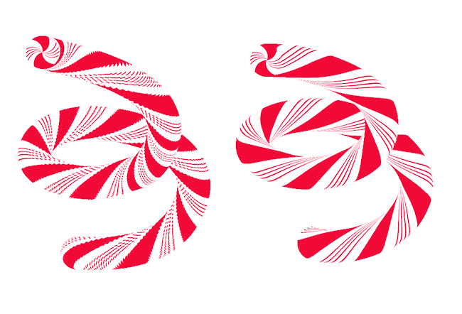 Left: Candy cane brush looking jaggy. Right: All smoothed out with the lerp() function.