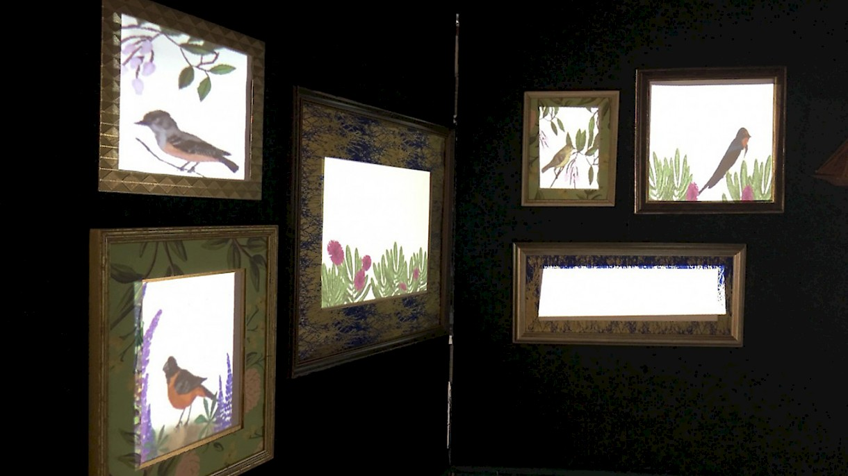 """Indoor Birding"" by Jason Alderman and Alex Olivier animates birds and bird song local to the San Diego area"